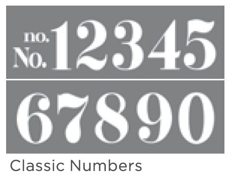 CLASSIC NUMBERS 6inchx18inch 2-PART AMERICANA&#174; DECOR<sup>(TM)</sup> STENCIL