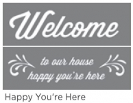 HAPPY YOU'RE HERE 6inchx18inch 2-PT AMERICANA® DECOR<sup>(TM)</sup> STENCIL