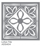 LOTUS TILE 18inchx18inch AMERICANA® DECOR<sup>(TM)</sup> STENCIL