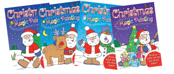 12 ASSTD CHRISTMAS MAGIC PAINTING BOOKS.  3 ea of 4