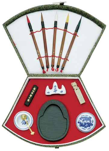 ORIENTAL PAINTING SET - FAN SHAPE CHINESE