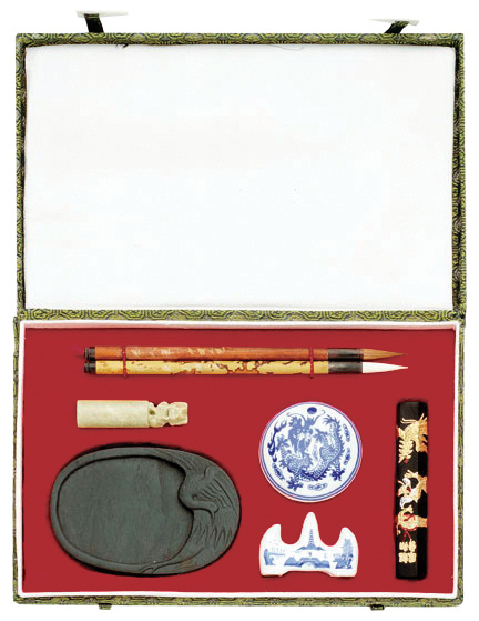 ORIENTAL PAINTING SET - LARGE CHINESE