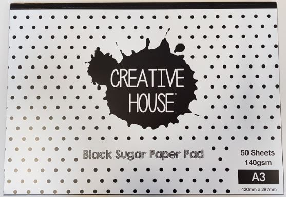 CREATIVE HOUSE BLACK PAD - A3 50 SHEETS 140gsm SUGAR PAPER