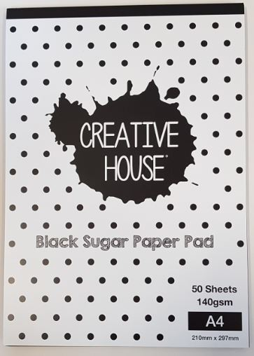 CREATIVE HOUSE BLACK PAD - A4 50 SHEETS 140gsm SUGAR PAPER