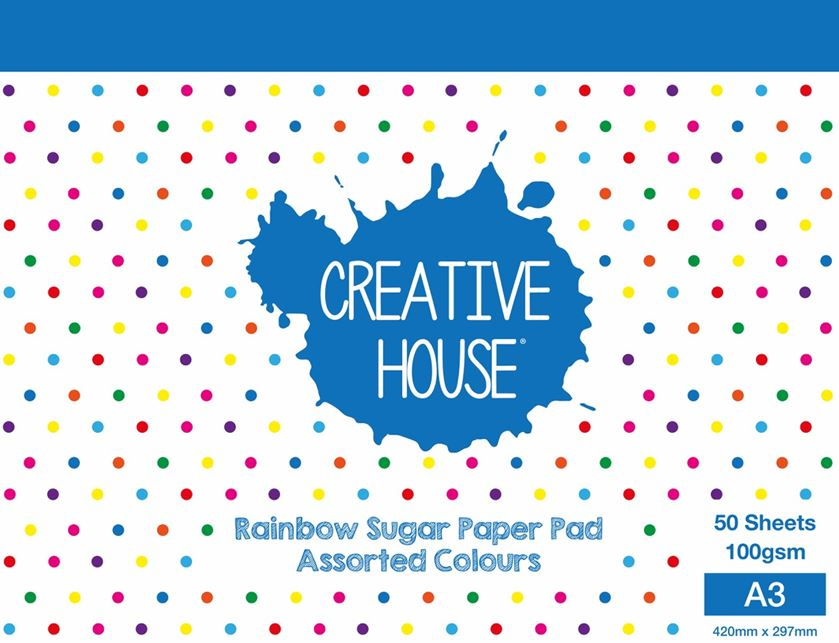 CREATIVE HOUSE RAINBOW PAD A3 50 SHEETS 100gsm SUGAR PAPER
