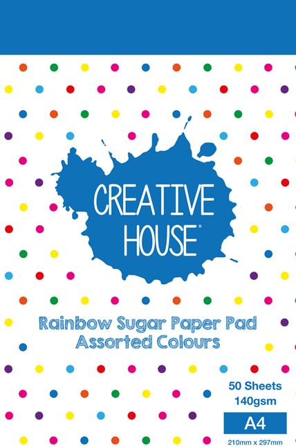 CREATIVE HOUSE RAINBOW PAD A4 50 SHEETS 100gsm SUGAR PAPER