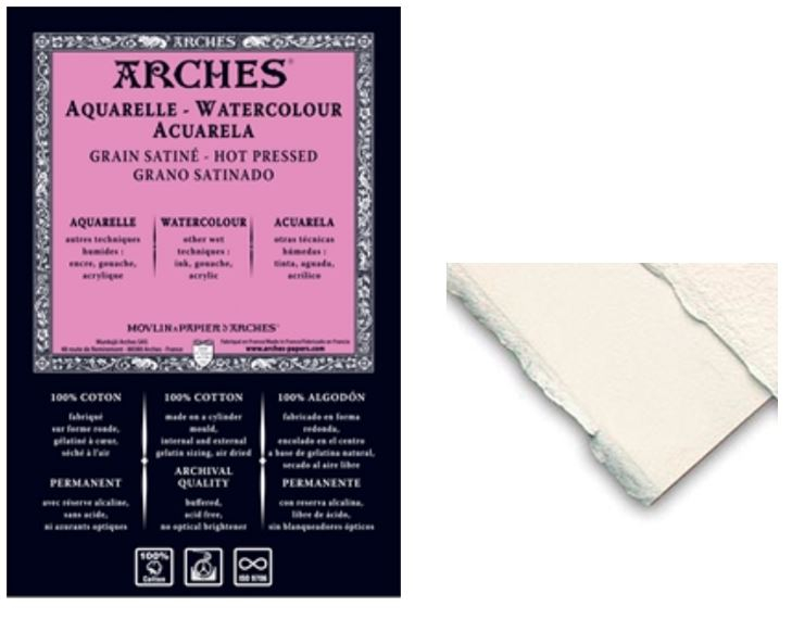 ARCHES WATERCOLOUR SHEETS 185gsm - 56x76 cm HOT PRESSED