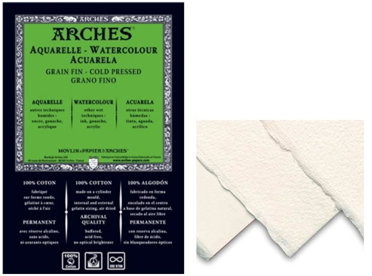 ARCHES WATERCOLOUR SHEETS 185gsm - 56x76 cm NOT (CP)