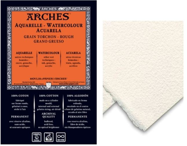 ARCHES WATERCOLOUR SHEETS 185gsm - 56x76 cm TORCHON (R)