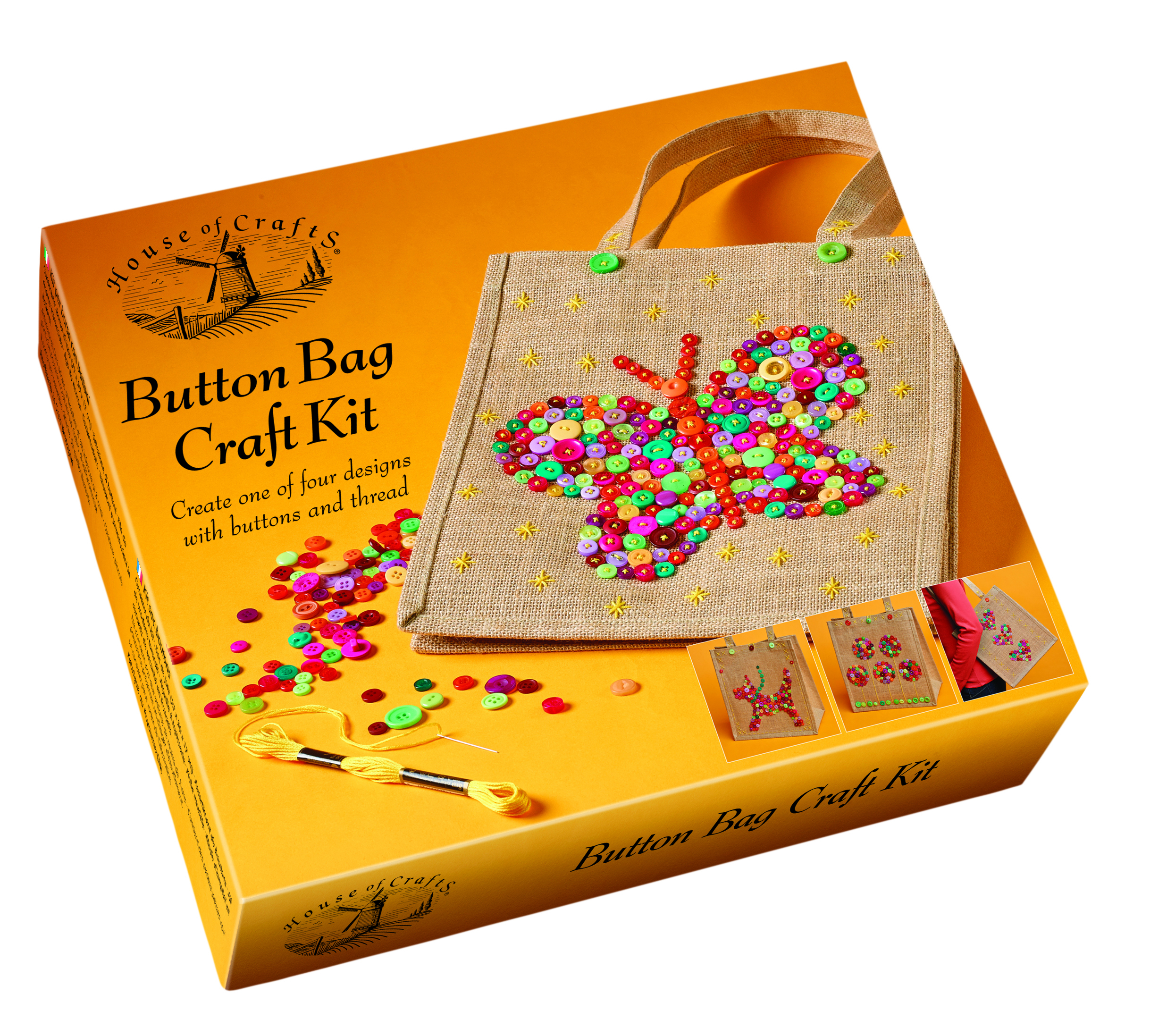 HOUSE OF CRAFTS BUTTON BAG CRAFT KIT HC570