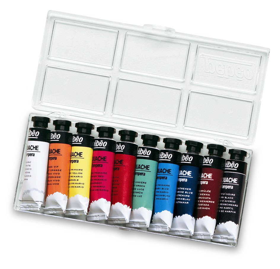 PEBEO GOUACHE TEMPERA SET OF 10X10ML TUBES 678000