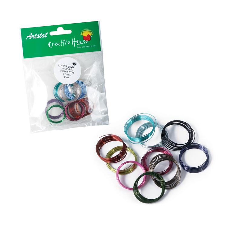COLOURED CRAFT WIRE - 0.5mm x 1m - 10 COLOUR ASSORTED