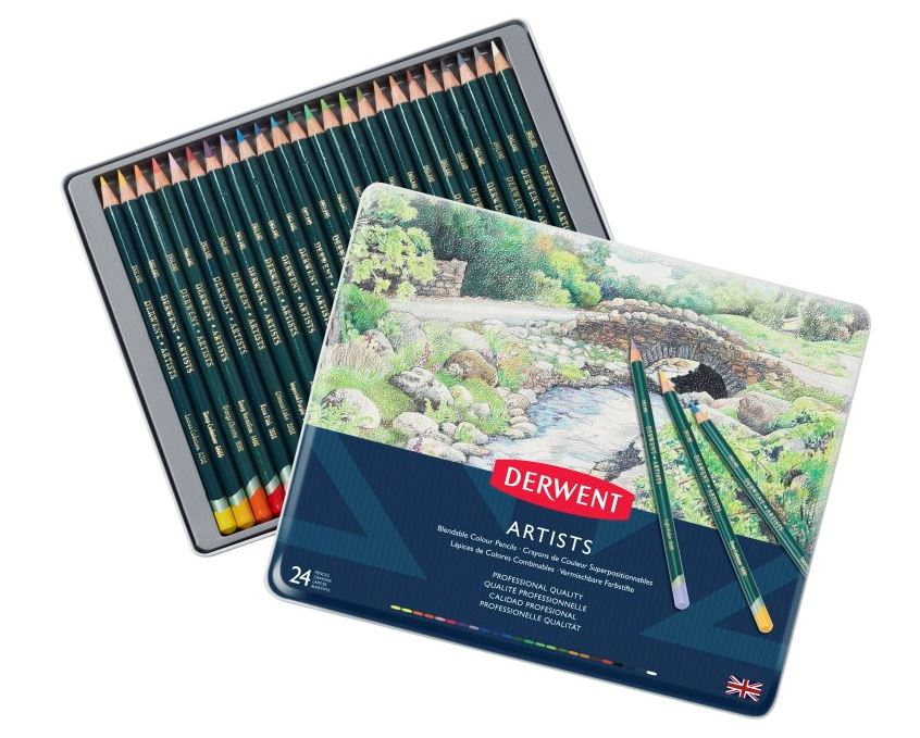DERWENT ARTIST PENCILS TIN OF 24 32093
