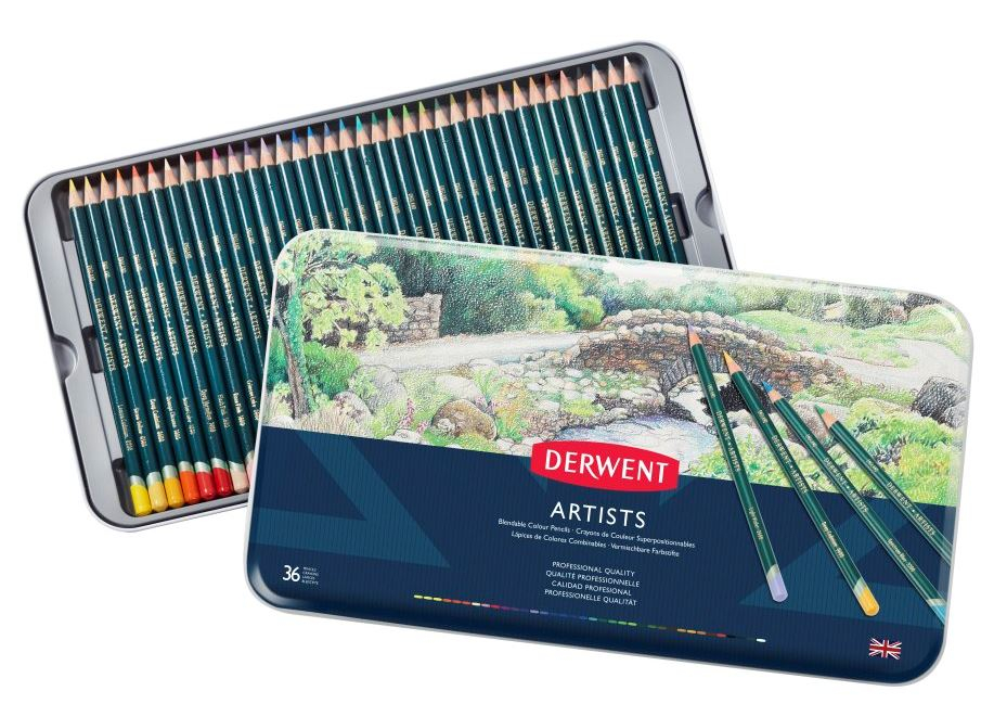 DERWENT ARTIST PENCILS TIN OF 36 32096