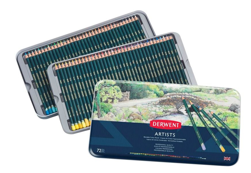 DERWENT ARTIST PENCILS TIN OF 72 32097