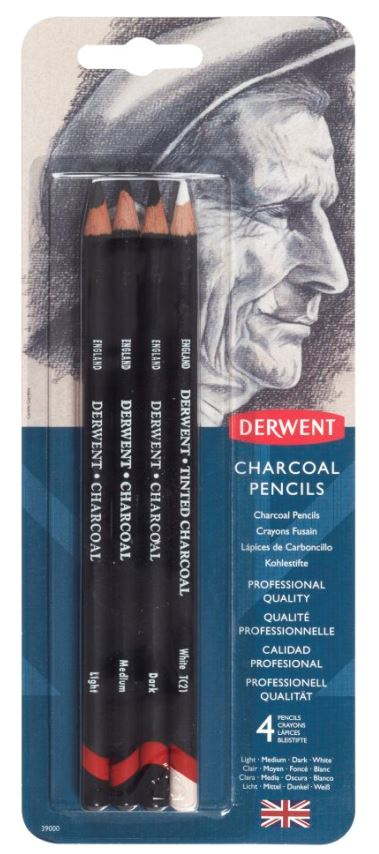DERWENT CHARCOAL PENCILS BLISTER OF 4 39000
