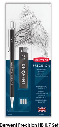 DERWENT MECHANICAL PENCIL 0.7 HB BLISTER SET 2302429