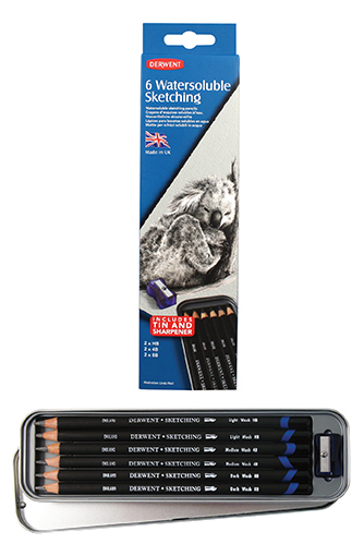 DERWENT WATERSOLUBLE SKETCHING PENCIL TIN OF 6 0700837