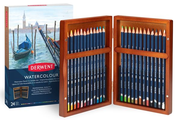 DERWENT WATERCOLOUR PENCIL 24 WOODEN BOX 2300152
