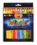 KOH-I-NOOR 12 SET JUMBO MAGIC TRIANGULAR PENCILS 3408 12