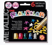 PLAYCOLOR ONE METALLIC SET 6 10gm COLOUR STICKS PC103212